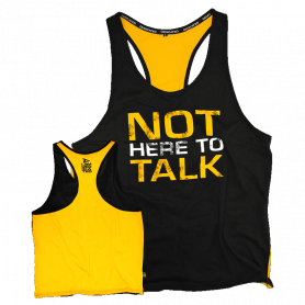"Tank T-shirt PREMIUM Dedicated ""NOT HERE TO TALK""-Noir - Jaune-S"