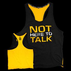 "Tank T-shirt PREMIUM Dedicated ""NOT HERE TO TALK""-Noir - Jaune-S"